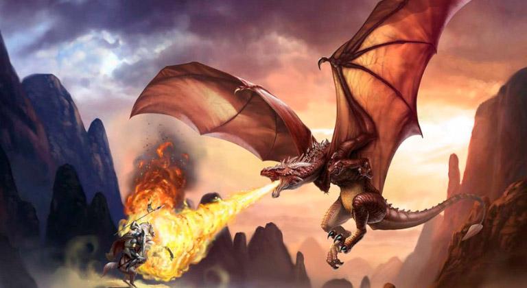 Un caballero contra un dragón