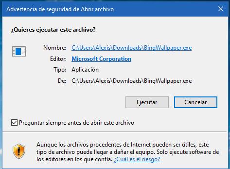 Pon el fondo de pantalla diario de Bing en tu Windows 10