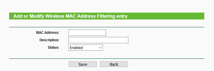 Agregando un dispositivo al filtro MAC
