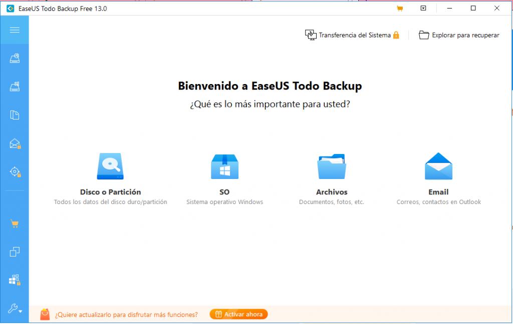 EaseUs Todo Backup es una alternativa fácil de usar para hacer un respaldo de datos