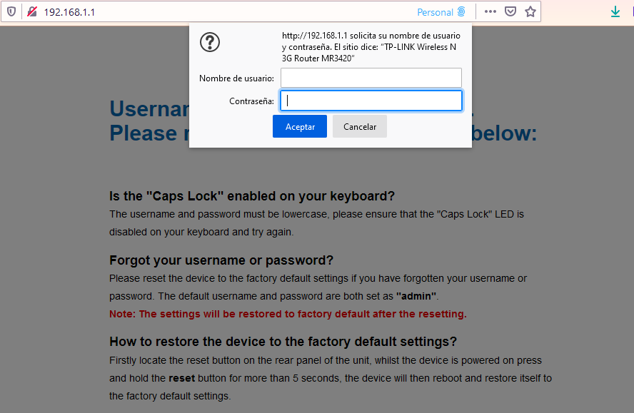 Solicitud de clave de acceso de un enrutador WiFi TP-Link