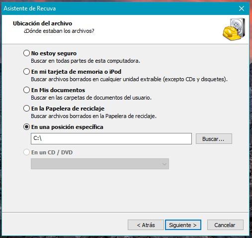 Recupera archivos borrados de tu PC con Recuva - Ubicación