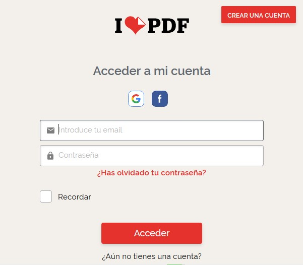 cómo editar y convertir archivos PDF gratis - inicio de sesión