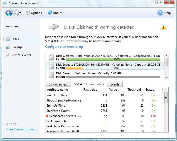 con Acronis Drive Monitor puedes revisar tu disco duro en busca de errores