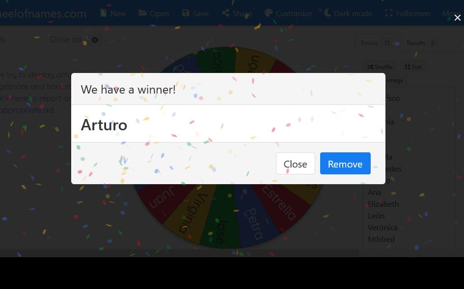 Wheel of Names elige el ganador de tu concurso de Instagram con una bonita ruleta de colores y hasta incluye aplausos y confetti