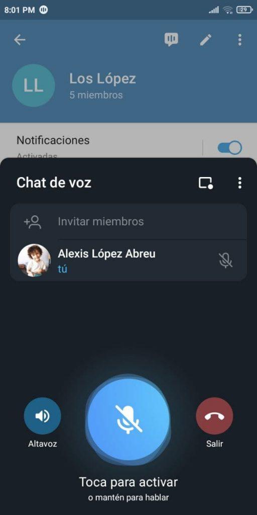 Así se agregan Invitados de un chat de voz de Telegram