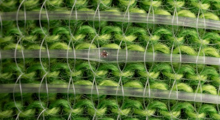 la tela inteligente consta de cientos de chips de silicio que hospedan una red de inteligencia artificial de más de 1600 conexiones