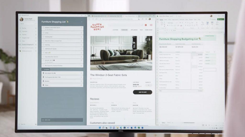 Así se ve Windows Snap en un monitor de escritorio en Windows 11