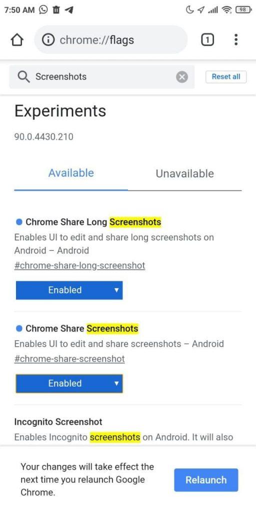 habilita las capturas de pantalla en Google Chrome 91 con los experimentos o flags
