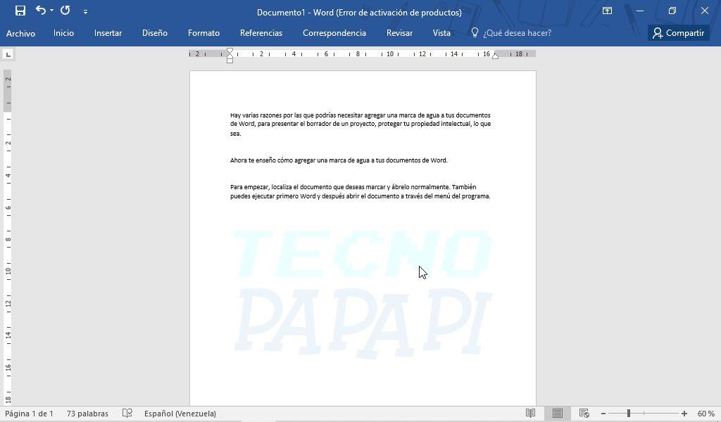 Así se ve agregar una marca de agua a un documento Word en imagen